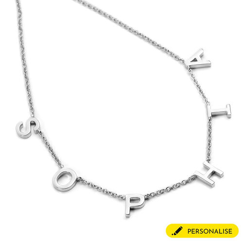 Personalise Spaced Letter Name Necklace in Silver