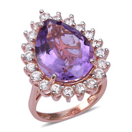 Rose De France Amethyst (Pear 20x15 mm), Natural Cambodian White Zircon Ring in Rose Gold Overlay St