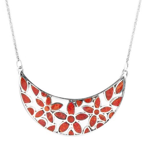 Limited Edition- Royal Bali Collection Coral Necklace (Size 20) in Sterling Silver, Silver wt 6.72 G