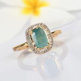 Grandidierite, White Diamond Ring in 14K Gold Overlay Sterling Silver 1.05 ct  1.050  Ct.