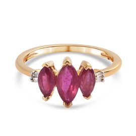 African Ruby (FF) and Diamond Ring in 14K Gold Overlay Sterling Silver 1.51 Ct.