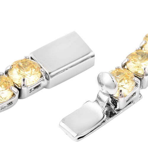 Christmas Special Deal- Simulated Yellow Sapphire Tennis  with Silver Plated Necklace (Size 18)