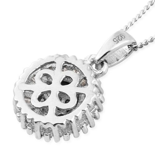 Designer Inspired - Diamond (Rnd and Bgt) Sunflower Pendant with Chain in Platinum Overlay Sterling Silver 0.500 Ct.