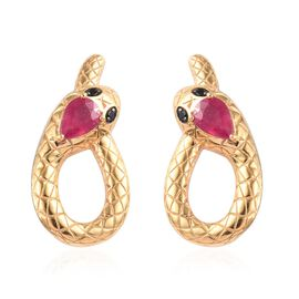 African Ruby and Boi Ploi Black Spinel Snake Earrings (with Push Back) in 14K Gold Overlay Sterling