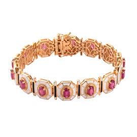 African Ruby Enamelled Bracelet (Size 7.5) in 14K Gold Overlay Sterling Silver 9.00 Ct, Silver wt 25