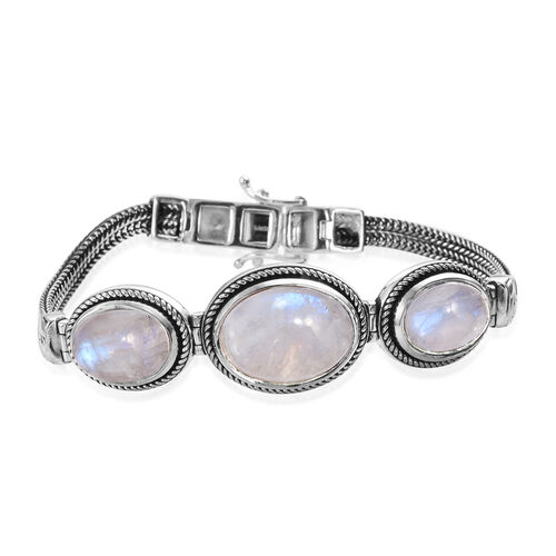 27.50 Ct Rainbow Moonstone Art Deco Inpired Bracelet in Silver 18.60 Grams 7.5 Inch