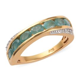 Zircon, Grandidierite 7 Stone Look Ring in 14K Gold Overlay Sterling Silver 0.26 ct  1.110  Ct.