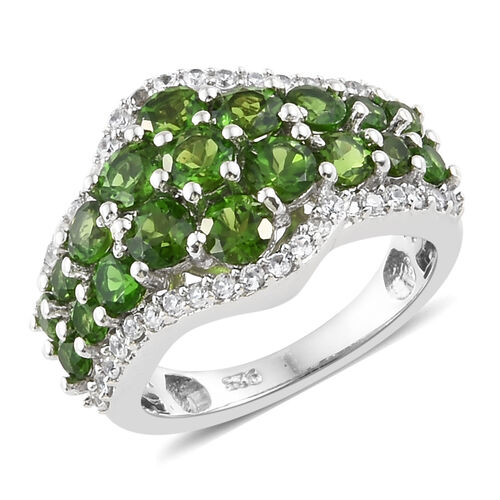 2.75 Ct Russian Diopside and Natural Cambodian Zircon Cluster Ring in Platinum Plated Silver