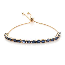 9K Yellow Gold AA Kanchanaburi Blue Sapphire (Ovl) Adjustable Bracelet (Size 6.5 to 9.5) 4.750 Ct, G