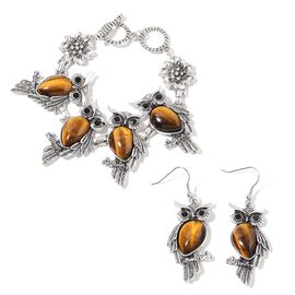 2 Piece Set 75 Carat Tigers Eye and Black Austrian Crystal Owl Bracelet and Hook Earrings 7.5 Inch