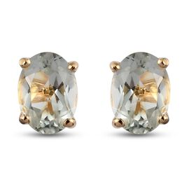 Prasiolite Stud Earrings (with Push Back) in 14K Gold Overlay Sterling Silver 1.51 Ct.