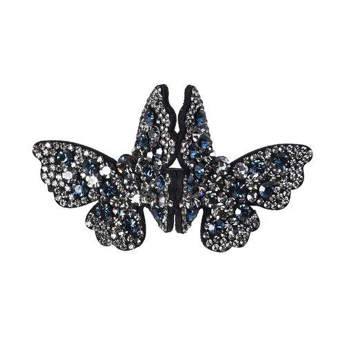 Austrian Crystal Butterfly Hair Clip - Blue Black & Grey