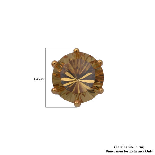 Citrine Stud Earrings (with Push Back) in Yellow Gold Overlay Sterling Silver 6.56 Ct.