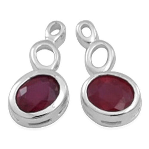African Ruby (Ovl) Earrings (with Push Back) in Rhodium Plated Sterling Silver 5.500 Ct.