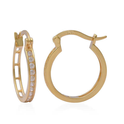 ELANZA Simulated Diamond Hoop Earrings (with French Clip) in Yellow Gold Overlay Sterling Silver