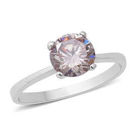 ELANZA Swiss Star Colour Change Light Green Morganite Cubic Zirconia (Rnd) Solitaire Ring in Rhodium