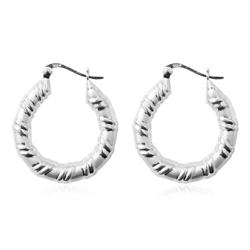 Sterling Silver Hoop Earrings (with Clasp Lock), Silver wt 5.39 Gms.