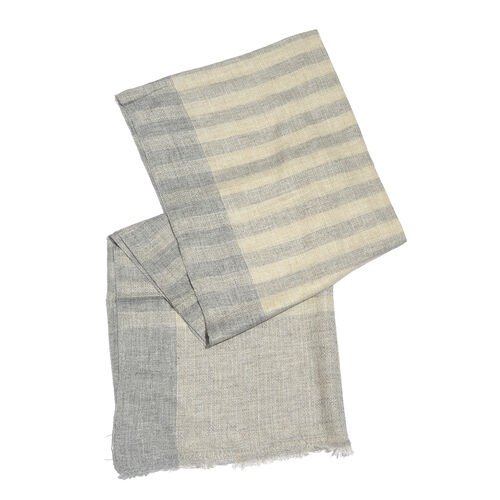 Italian Designer Cashmere Wool Blend Stripes Pattern Grey and Cream Scarf (Size 200X65 Cm)