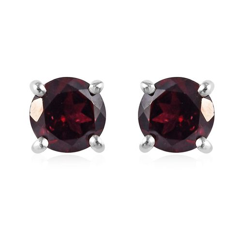 2 Piece Set - Rhodolite Garnet (Rnd) Pendant and Stud Earrings (with Push Back) in Platinum Overlay Sterling Silver 1.75 Ct.