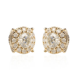 1.50 Ct Diamond Stud Cluster Earrings in 14K Gold Certified GH I1 I2