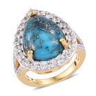 Persian Turquoise (Pear 16x12 mm), Natural Cambodian Zircon Ring (Size T) in 14K Gold Overlay Sterling Silver