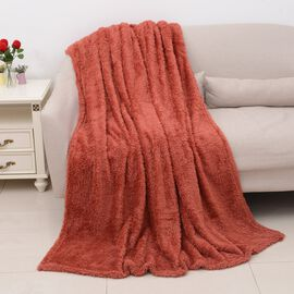 Super Soft Teddy Bear Plush Double Sided Sherpa Blanket (Size 150x200 Cm) - Coral