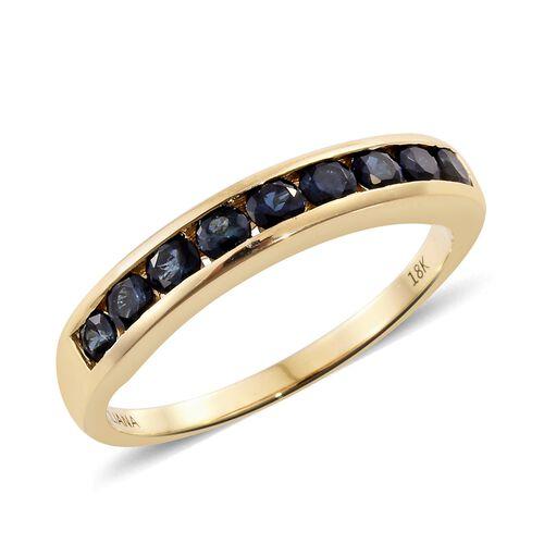 ILIANA 1 Carat Indicolite Half Eternity Ring in 18K Gold 4.06 Grams