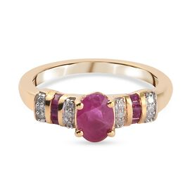 Burmese Ruby and Diamond Ring in 14K Gold Overlay Sterling Silver 1.27 Ct.