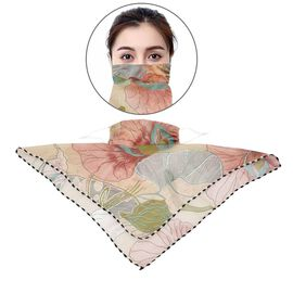 2 in 1 Flower Pattern Chiffon Soft Feel Scarf and Face Covering (Size 45x45 Cm) - Beige and Pink