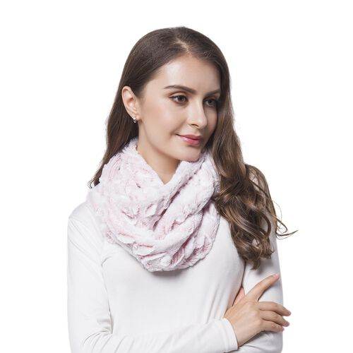 Designer Inspired Pink and White Colour Rose Pattern Faux Fur Infinity Scarf (Size 80X20 Cm)