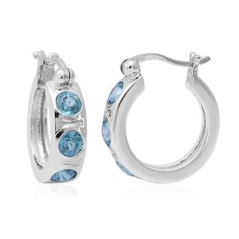 2.53 Ct Ratanakiri Blue Zircon Hoop Earrings in Rhodium Plated Sterling Silver 5 Grams