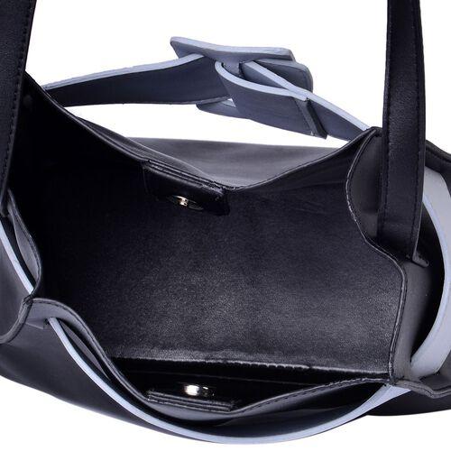 Set of 2 - Black and Light Grey Colour Large Handbag with Adjustable Shoulder Strap and Small Handbag (Size 28x25x12.5 Cm, 17.5x15x7.5 Cm)