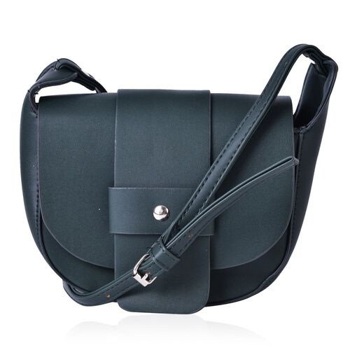 Green Colour Crossbody Bag with Magnetic Closure Flap and Adjustable Shoulder Strap (Size 19x16x6 Cm