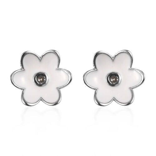 Diamond Floral Stud Earrings (with Push Back) in Platinum Overlay Sterling Silver