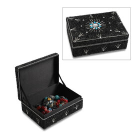 Handcrafted Decorative Beads Bling Storage Box with Inside Lining (Size 18.5x13x5.7 Cm) - Black