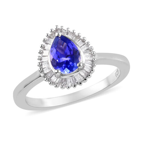 AAA Tanzanite and Diamond Halo Ring in Platinum Overlay Sterling Silver 1.00 Ct.