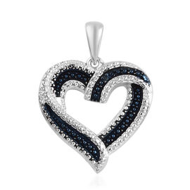 Blue Diamond (Rnd) Heart Pendant in Platinum Overlay Sterling Silver
