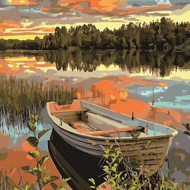 Painting By Numbers - Boat (includes Wooden Frame, 3xPaintbrush, 25xPaints, 2xHooks and Screws, 2xPa