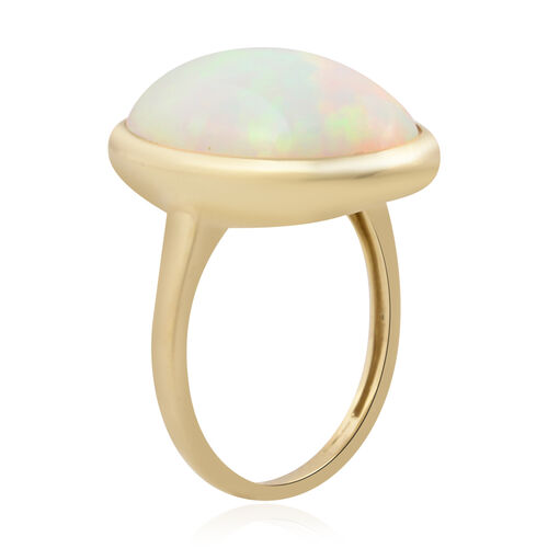 14K Yellow Gold AAA Ethiopian Welo Opal (Ovl 18x13mm) Solitaire Ring 7.00 Ct.