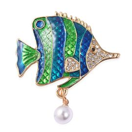 Simulated Pearl (Rnd), White and Black Austrain Crystal Enamelled Fish Brooch in Yellow Gold Tone