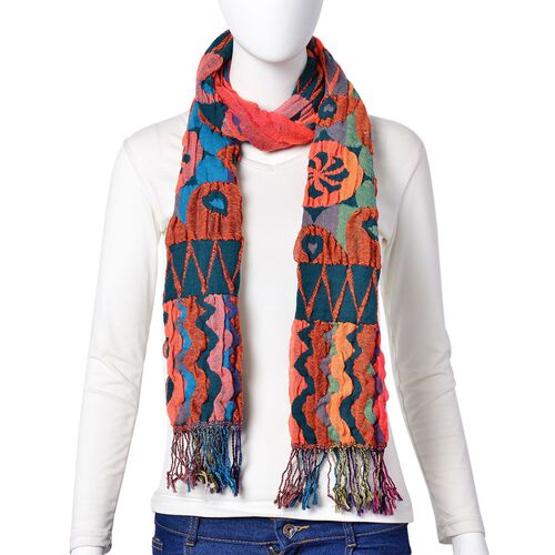 Italian Designer Inspired-Green, Orange and Multi Colour Ethnic Pattern Reversible Scarf with Tassels (Size 170X30 Cm)