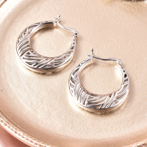 Isabella Liu Sea Rhyme Collection - Rhodium Overlay Sterling Silver Hoop Earrings (with Clasp)
