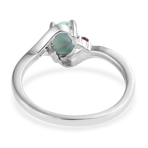 Larimar (Ovl 1.40 Ct), Rhodolite Garnet Ring in Sterling Silver 1.500 Ct.