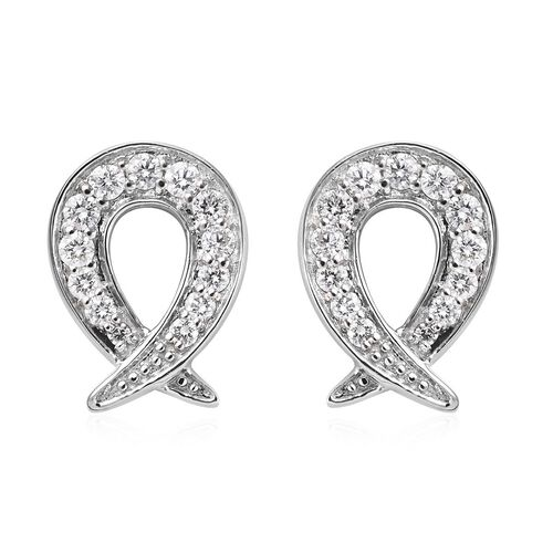 RACHEL GALLEY-Swirl Collection- 950 Platinum IGI Certified Diamond (VS/E-F) Earrings (with Screw Back) 0.50 Ct. Platinum Wt 4.20 Grams