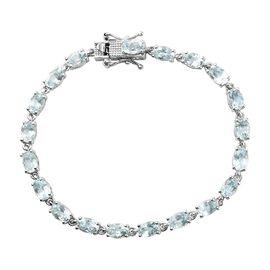 Skyblue Topaz Line Bracelet (Size 7) in Platinum Overlay Sterling Silver 11.00 Ct, Silver wt. 7.00 G