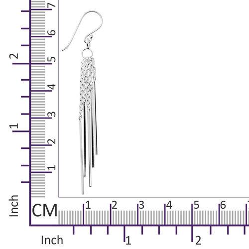 Rhodium Overlay Sterling Silver Dangle Hook Earrings