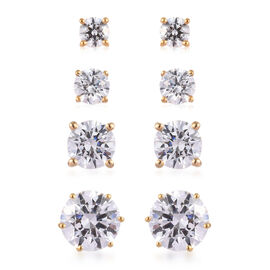 J Francis - Set of 4 - 14K Gold Overlay Sterling Silver Stud Earrings (with Push Back) Made with SWA