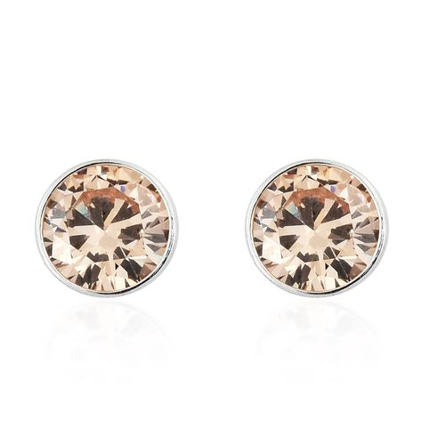 ELANZA Simulated Morganite (Rnd 5mm) Stud Earrings (with Push Back) in Sterling Silver