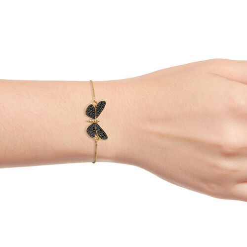 Boi Ploi Black Spinel (Rnd) Butterfly Adjustable Bracelet (Size 6.5 to 9.5) in 14K Gold and Black Overlay Sterling Silver 0.750 Ct