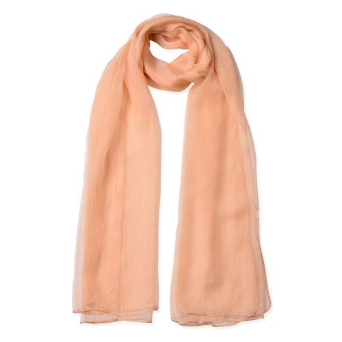 One Time Deal - 100% Mulberry Silk Peach Colour Scarf (Size 170X70 Cm)